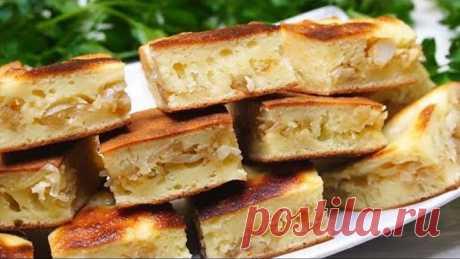Очень вкусно из ничего! Пирог на сковороде, начинку можно брать любую на Ваш вкус!