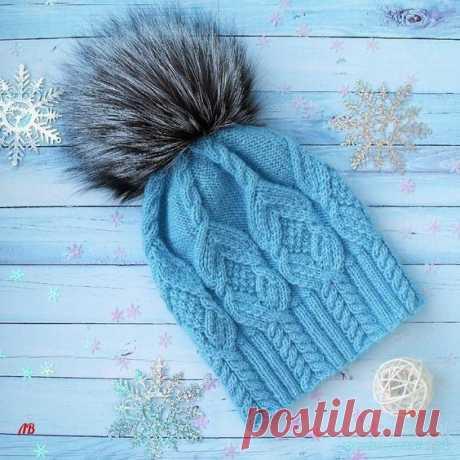 Красивая шапка спицами — Красивое вязание