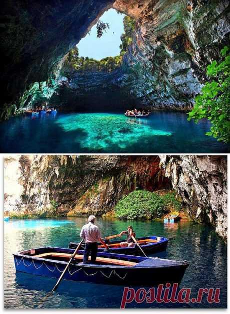 Захватывающая дух пещера Мелиссани в Греции