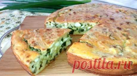 Amazing pie on kefir with green onions and egg, as at the grandmother