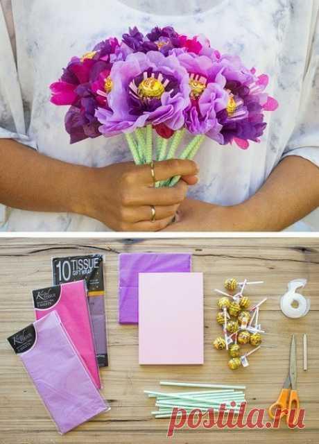 Чупочупсовый букет: вкусная красота — Сделай сам, идеи для творчества - DIY Ideas
