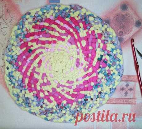 Плетение круглого коврика из лоскутков, с ссылками на мое видео   NataliyaK   Яндекс Дзен