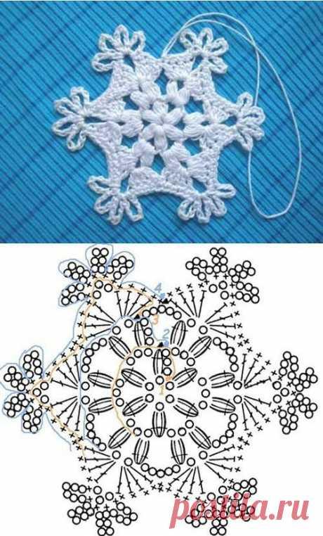 La elección de los copos de nieve tejido por el gancho con los esquemas