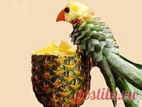 Карвинг фото - попугай из ананаса / Карвинг из овощей и фруктов - фото, видео для начинающих / КлуКлу. Рукоделие - бисероплетение, квиллинг, вышивка крестом, вязание