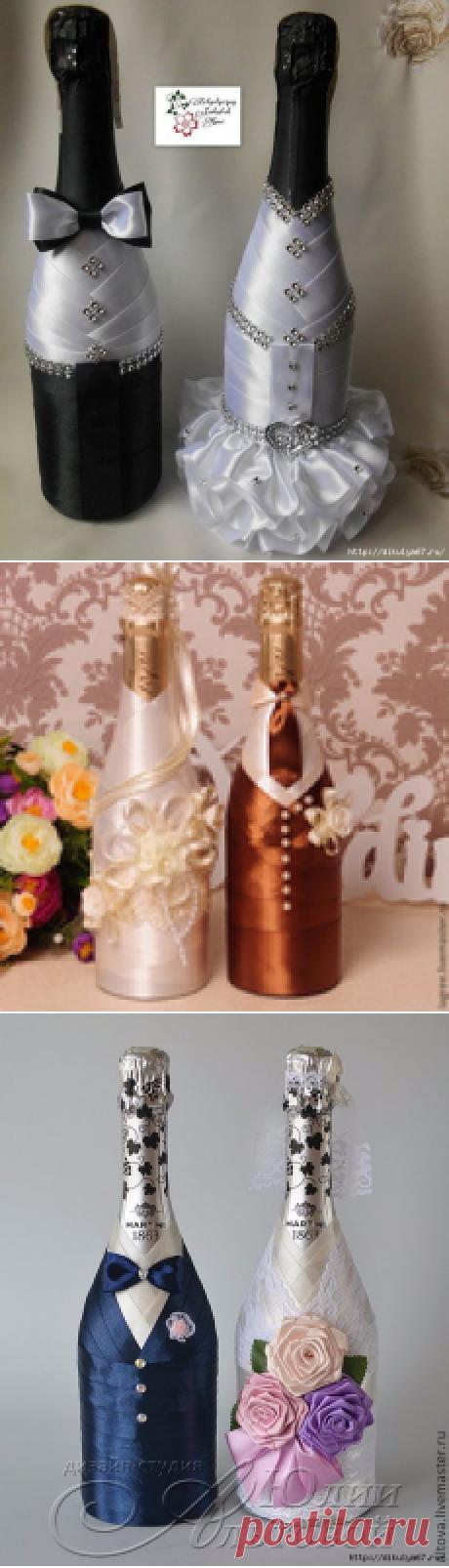 Свадебный декор бутылок и бокалов