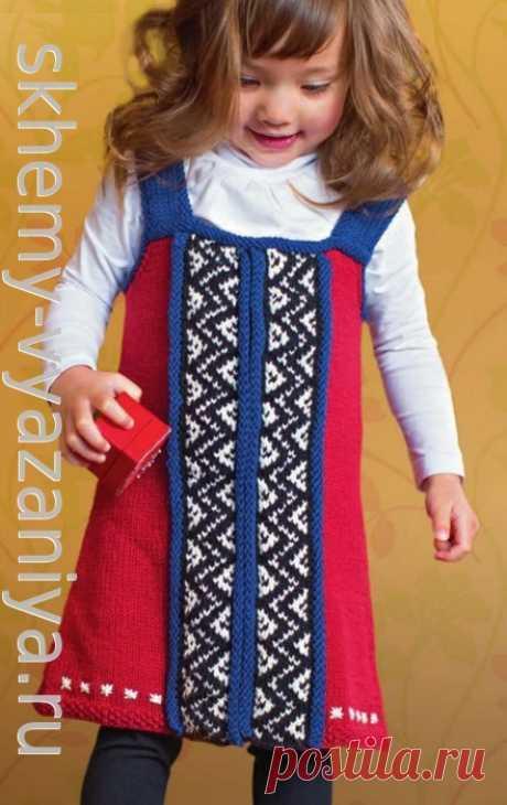 Сарафан в русском стиле для девочки. Схема вязания спицами и описание.