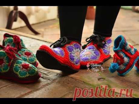 (Тапочки с африканским цветком) Пошаговое вязание крючком.