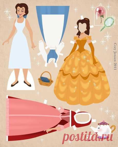 Бумажные куклы - диснеевские принцессы с нарядами и парочка принцев в придачу.