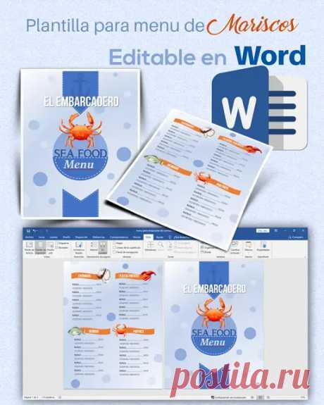 Plantilla editable en Word de menú para un restaurante de mariscos - Utilidades Webblog