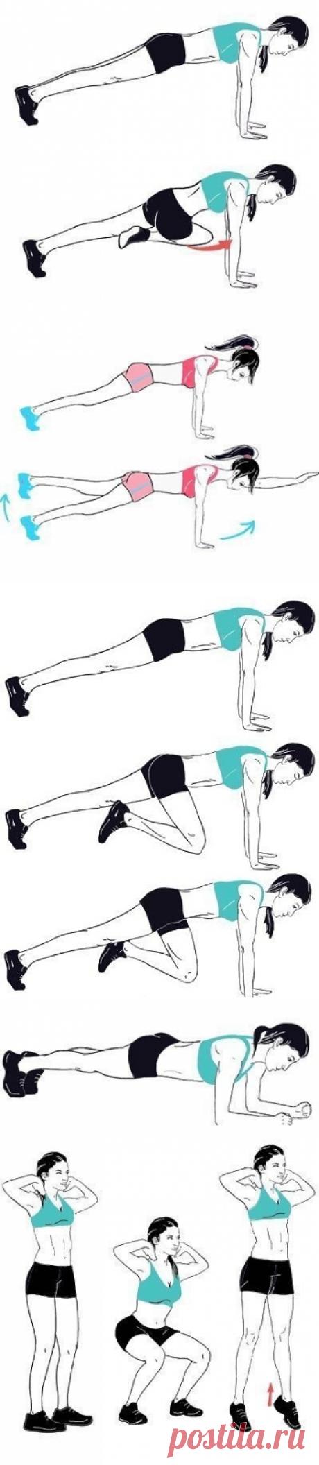 Комплексная тренировка Выполняй каждое упражнение по 15 раз, 3-4 подхода