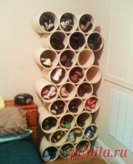 Создание полки для обуви из пластиковой трубы