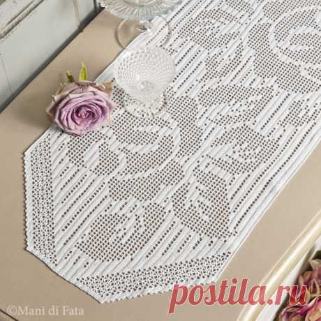 Scheme to realize the runner with crochet filet roses