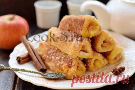 Рулетики из тостового хлеба с яблоками – рецепт с фото