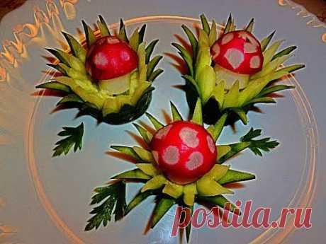 Украшения из овощей! Карвинг огурца и редиса! Decoration of vegetables. Carving radish and cucumber. - YouTube