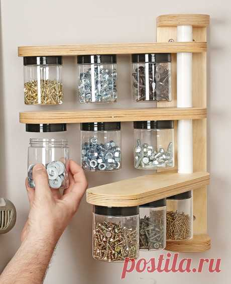 Wall-Mounted Swivel Storage Rack  A Tidy Place Close at Hand for all those small pieces of Hardware.