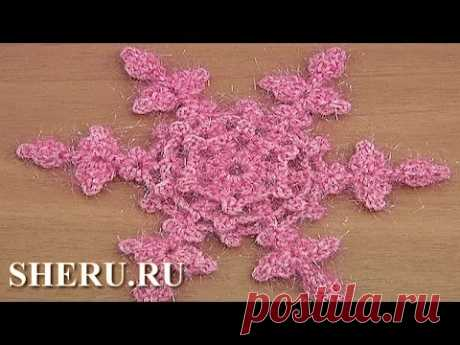 Crochet Flat Flower Snowflake Урок 23 Как вязать крючком снежинку