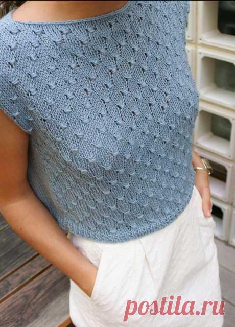 Простой летний топ спицами для женщин (Вязание спицами) – Журнал Вдохновение Рукодельницы