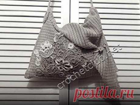 Вязаная сумка с цветочной аппликацией - Вязание Крючком. Блог Настика