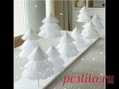 DIY. Новогодняя елочка из бумажных ажурных салфеток.