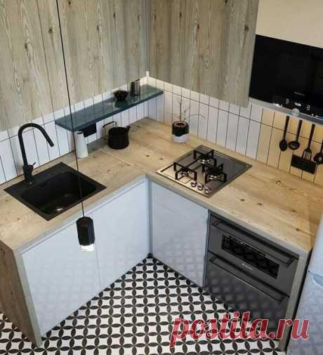 Лучший вариант планировки маленькой кухни в хрущёвке на 6.5 м². Сумели сделать всё грамотно и очень стильно. Увидеть бы раньше. | DESIGNER | Яндекс Дзен