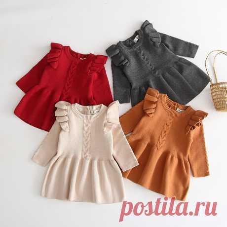 Осенне зимнее платье для девочек, детская одежда, детские платья для девочек, вечернее платье, вязаный свитер с длинным рукавом, платье для маленьких девочек