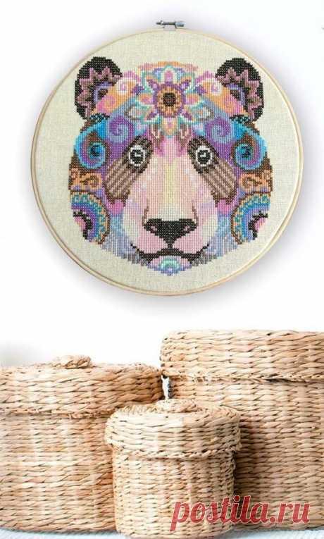 Оригинальная вышивка с медведем