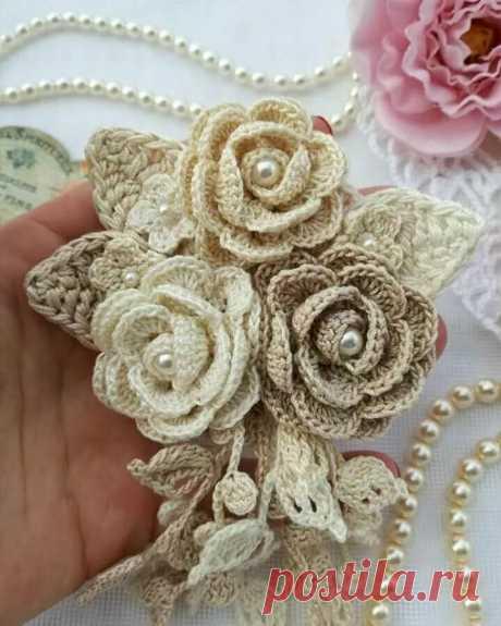 Розовое настроение. Прекрасные цветы вязаные крючком. | NataliyaK | Яндекс Дзен