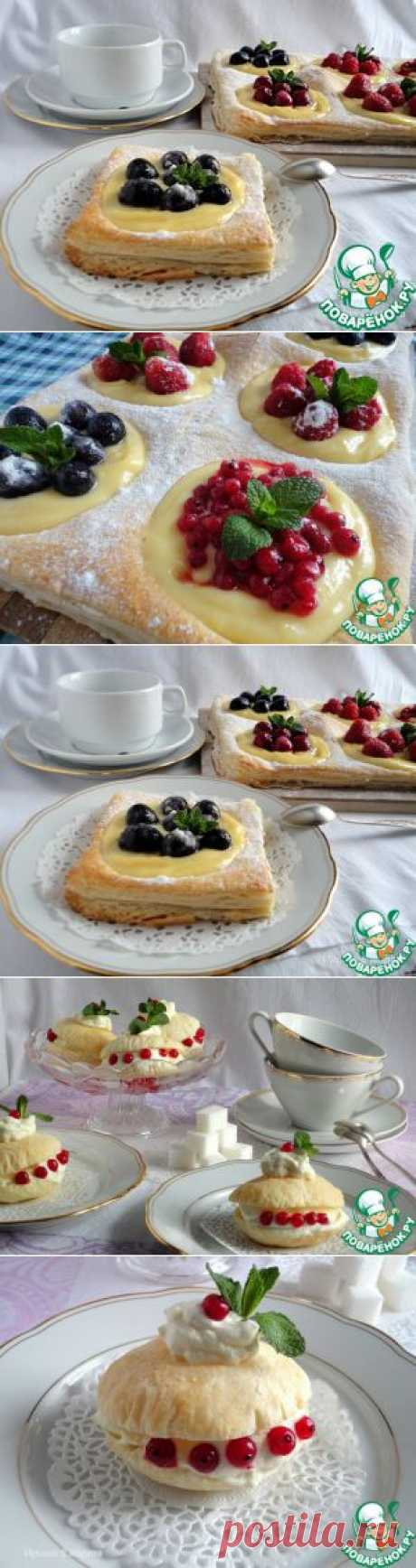 Слоеный пирог с ягодами+пирожные