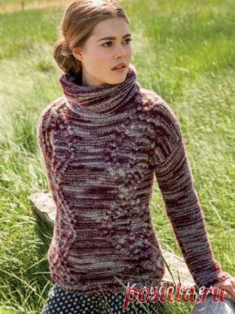 Меланжевый свитер спицами. Схема и описание вязания для женщин