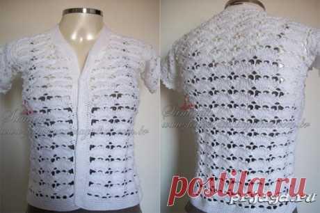 Openwork jacket a hook for the summer\u000aHow to knit: http:\/\/prjaga.ru\/vyazanie-dlya-zhenshchin\/top-azhurnaya-koftochka\/azhurnaya-koftochka-kryuchkom-na-leto