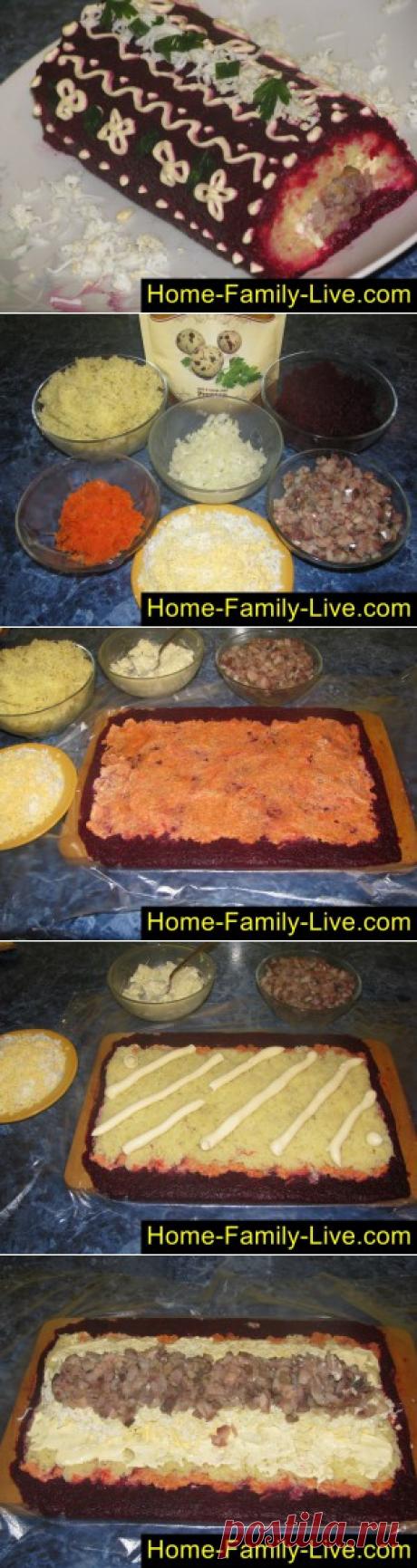 El arenque bajo la pelliza, el panecillo - poshagovyy la fotoreceta - la ensalada en forma ruletakulinarnye las recetas