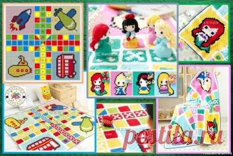 ЯРКИЕ ИГРОВЫЕ КОВРИКИ С ИГРУШКАМИ КРЮЧКОМ! ЧАСТЬ 2 – коврик «КУКЛЫ» для девочек. | Разнообразные игрушки ручной работы