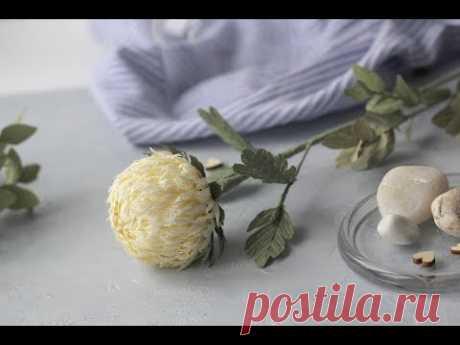 Мастер класс. Хризантема из гофрированной бумаги. Hand made paper flowers