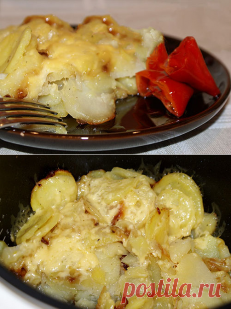 Potatoes with cheese in the crock-pot