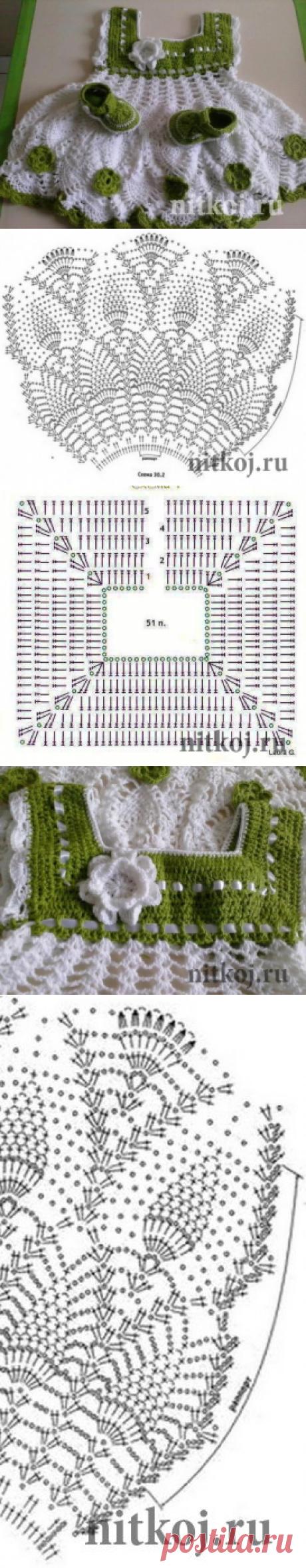 Красивое детское платье крючком » Ниткой - вязаные вещи для вашего дома, вязание крючком, вязание спицами, схемы вязания