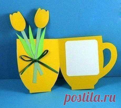 Чашка-открытка с цветами