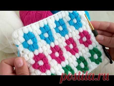How to Crochet Stitch Blanket - Cok Güzel Battaniye Lif Yelek Modeli