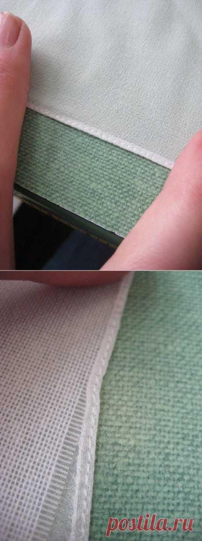 Шитьё. Оригинальный способ узкой подгибки на лёгкой ткани. МК.