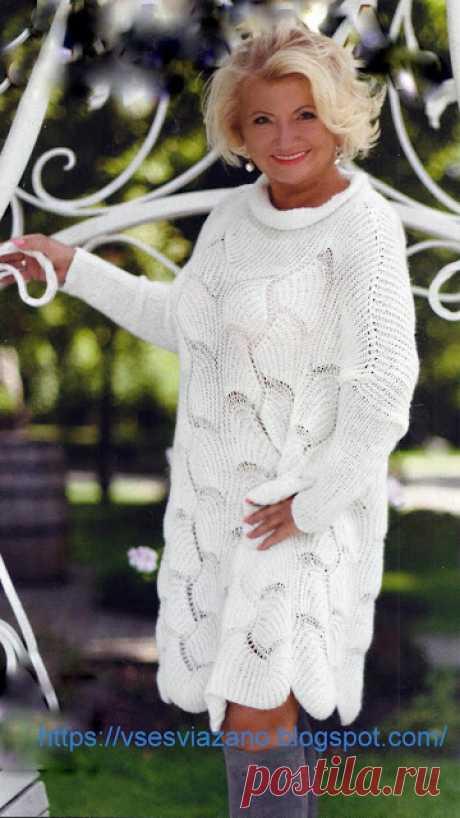 ВСЕ СВЯЗАНО. ROSOMAHA.: Белое платье к зимнему сезону спицами! Модный оверсайз.