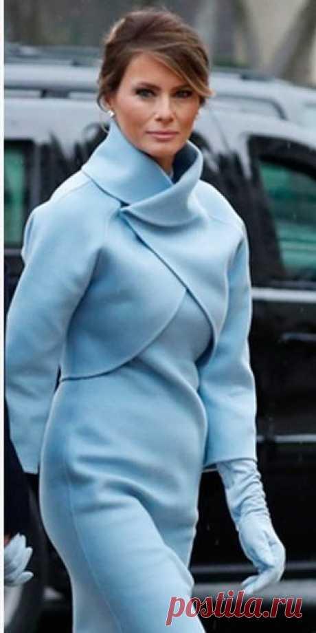 Elegant Melanija Trump in blue - a bolero pattern across Zlachevskaya