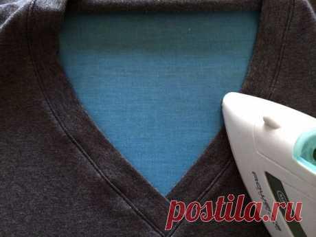 Техника шитья V-образной горловины на трикотаже