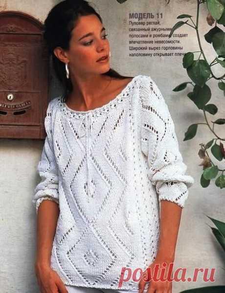Пуловер реглан ажурными полосами и ромбами спицами – схемы вязания с описанием — Пошивчик одежды