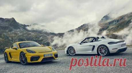 Спорткары Porsche 718 Cayman GT4 и 718 Spyder 2019 - цена, фото, технические характеристики, авто новинки 2018-2019 года