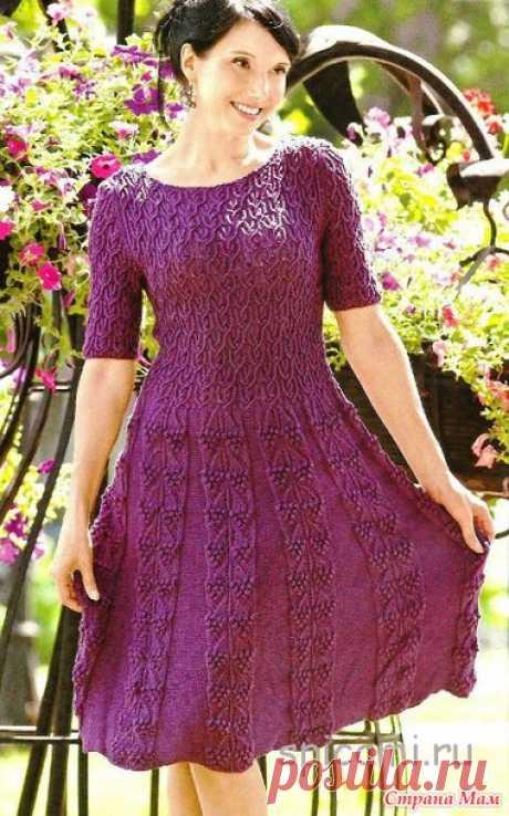 Красивое расклешенное платье. - Вязание спицами - Страна Мам