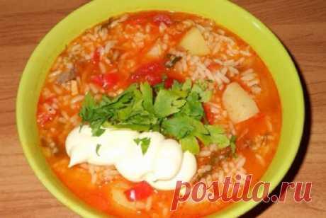 Суп харчо с рисом и картошкой, классический рецепт