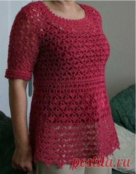 Пуловер для ярких дам, вяжем крючком