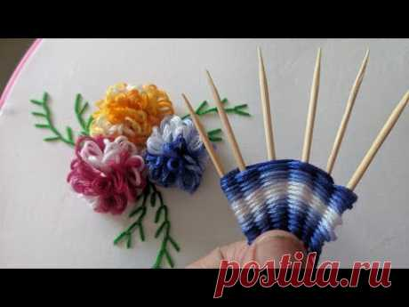 Amazing & Easy Hand embroidery flower design trick 2020   New Hand embroidery flower design idea