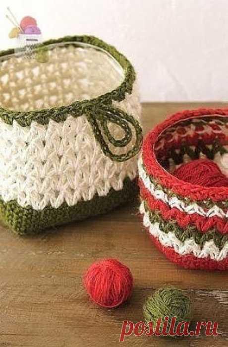 Вязаная квадратная корзиночка. Крючком. Схема. / knittingideas.ru