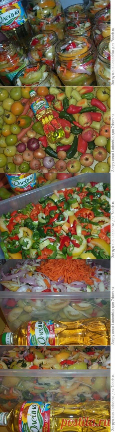 """Салат """"Акварель"""" из зелёных помидоров"""