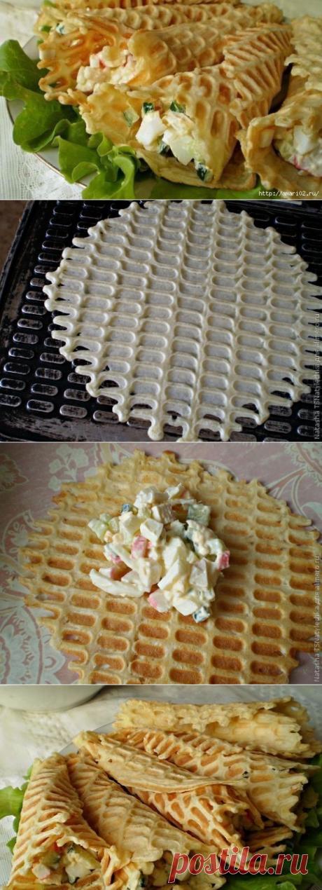 Закусочные вафельные трубочки с крабовой начинкой | Четыре вкуса